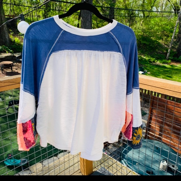 Fun Free People Butterfly Sleeve Top